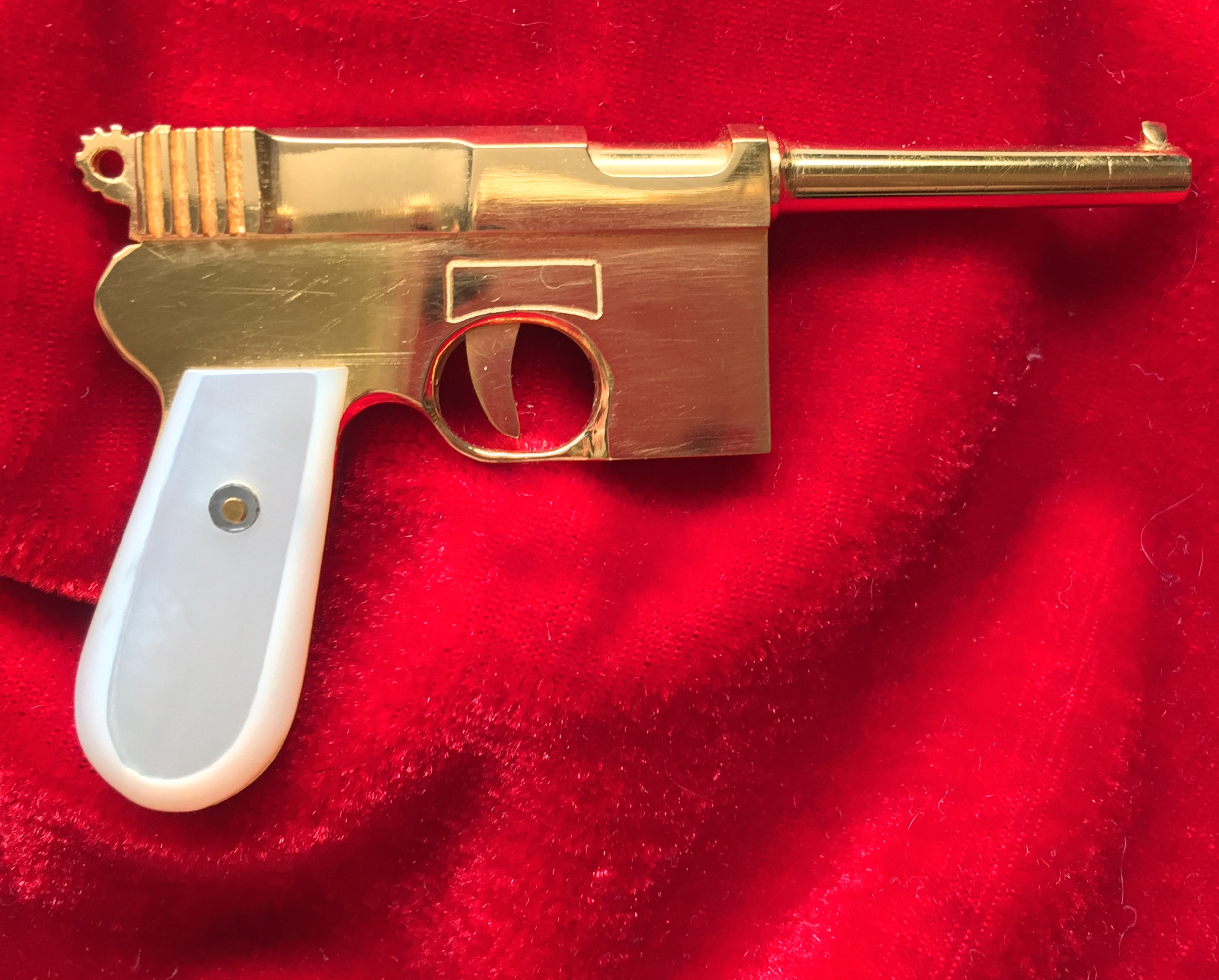 BROOMSTICK MAUSER 24K GOLD-PLATED-2mm Pinfire Gun